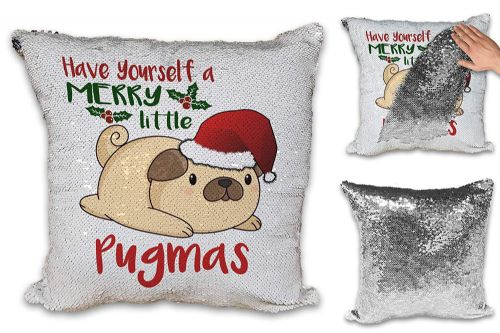 Have Yourself A Merry Pugmas Novelty Sequin Reveal Magic Cushion Cover
